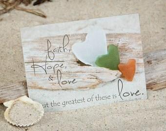Religious Coastal Note Card | Religious Greeting Card | SeaGlass Hearts | Faith Hope & Love | Lisa Vohwinkel Photography | Corinthians 13