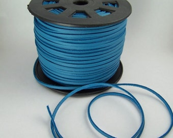 Blue Teal Faux Leather Cord 20 Feet USA Seller