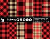 Lumberjack Flannel, Buffalo Check Plaid Red, Black, Khaki Gingham, Tartan. Scrapbook Digital Papers 8.5x11 / 12x12 jpg INSTANT DOWNLOAD