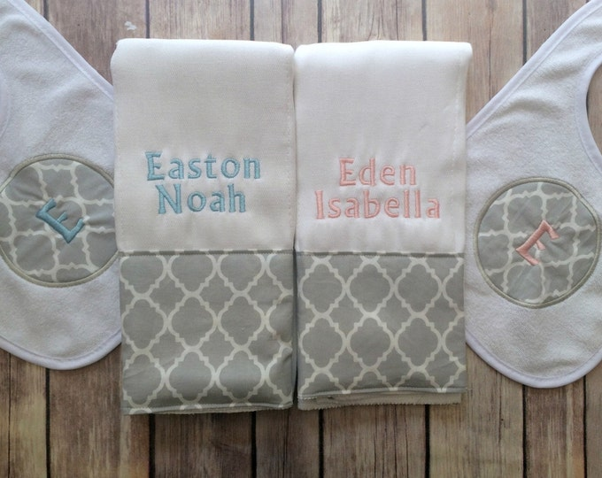 Twin Baby Gift - Personalized Monogrammed Quatrefoil Burp Cloth and Bib Set, Twin Baby Gift, Baby Shower Gift, Twin Gift, Monogram Twin