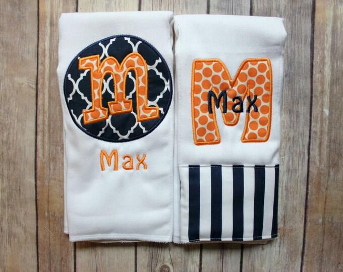 Baby Boy Burp Cloth Set, Orange Navy Burp Cloth Set, Baby Boy Gift, Baby Shower Gift, New Baby Boy Gift, Navy Orange Gift, Monogrammed Boy