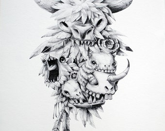 Teef, feathers & Skullz Limited Edition Print