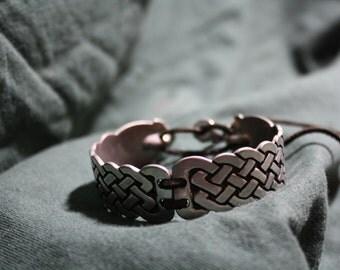 St Justin Pewter cuff bracelet Celtic Knotwork
