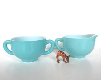 Aqua Blue Milk Glass Creamer And Sugar Set, Vintage Turquoise Milk Glass Milk Pitcher And Sugar Bowl