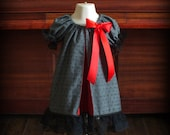 Charcoal Grey & Red Swing Dress by Steady As She Goes custom baby toddler girl 0 3 6 12 18 24 mo 2T silver Christmas black gothic polka dot