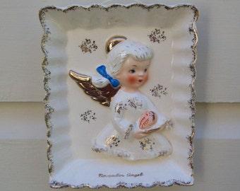 Vintage Ceramic November Angel Plaque Wall Hanging