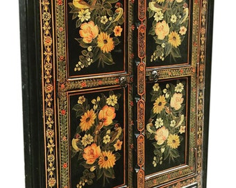 Floral Painted Doors Reclaimed Antique Jodhpur Black Doors Indian Art