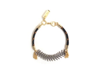 ZOE - delicate gunmetal and gold bracelet, small bracelet, chain bracelet, tassel bracelet, rope bracelet, boho chic bracelet, modern