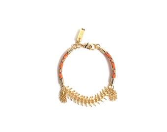 LINA - delicate gold bracelet, small bracelet,colorful bracelet,chain bracelet, tassel bracelet, 18k gold bracelet, rope bracelet, boho chic
