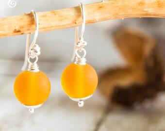Yellow Dangle Earrings, Murano Yellow Earrings, glass Jewelry, Glass Earrings, Little Black Dress, Sterling Silver, Gift for her