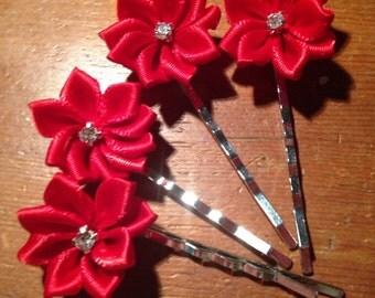 Red Hair Pin set of 4
