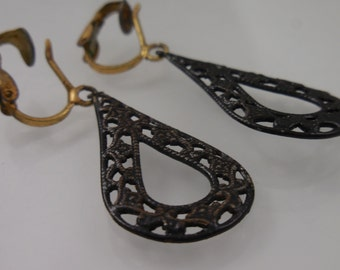 Dangle  Non Pierced  Black Filigree Earrings