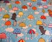 Kokka Fabric. It's Raining Cats and Dogs Fabric. Rain cloud and Umbrella's Kokka Fabric. Japanese Quilting Fabric. Half Yard.