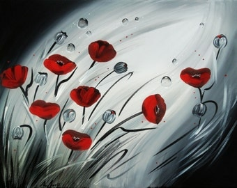 Abstract Painting Flower, Painting Flowers, Red Poppy Painting, Red Poppies, Original Painting, Floral, Wall Art Canvas 50cm x 40cm