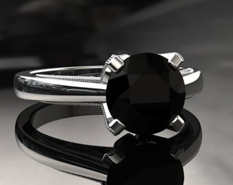 Natural Black Diamond Engagement Ring Black Diamond Ring 14k or 18k White Gold Matching Wedding Band Available W3BKDW