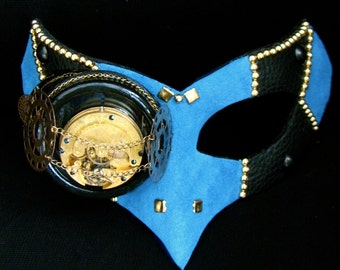 Steampunk Masquerade Mask, Blue Suede, Clock Gears, Steampunk Goggles - The Steel Skylark