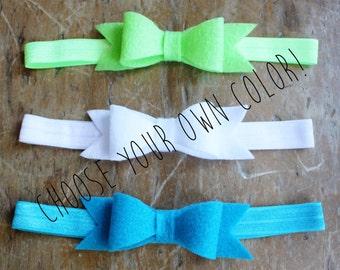 Baby headbands, dainty bow headbands, felt headbands, custom headbands, bow headbands, felt bow headbands, headband set