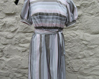 Vintage 80s silky dress silver grey and pink stripes