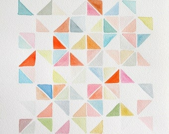 "10"" x 14"" Triangle Grid in Coral & Blue  - Original Painting"
