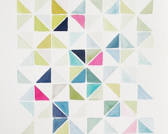 "10"" x 14"" Triangle Grid in Navy & Green  - Original Painting"