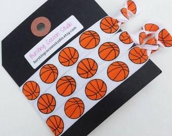 Basketball hair ties, basketball print, foldover elastic ponytail holders, sports, athletic girls gift, coach gift, basketball camp favor