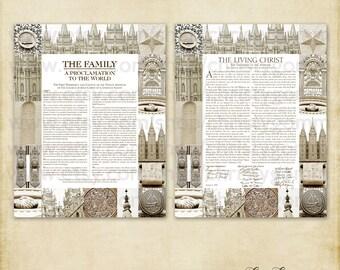 Salt Lake City Temple Family Proclamation and The Living Christ LDS Wall Art 11x14 Sepia Printable Image