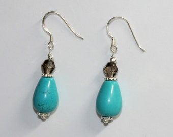 Turquoise Earrings -  Smokey Quartz Earrings - Sterling Silver Earwires - Turquoise, December's Birthstone - Blue Turquoise
