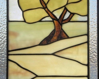 Stained Glass Panel Yellow Tree Landscape  Clear Textured Glass Handmade Original Design