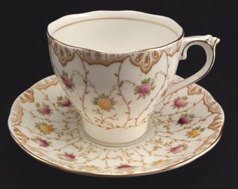 Roslyn China Tea Cup and Saucer in Dorothy pattern