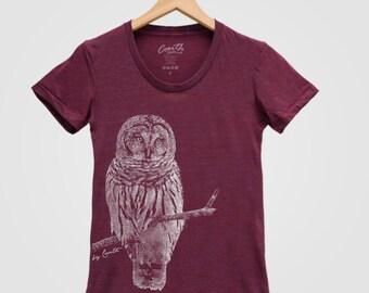 OWL Tshirt Women Screen Print Tri-Blend Short Sleeve Tshirt Available: S , M , L , XL