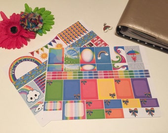 Rainbow weekly kit for Erin condren vertical life planner, rainbow planner stickers, rainbow EC kit