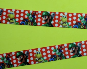 Mario brothers ribbon - 2 yards