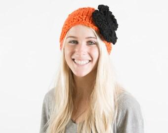 Knitted Flower Headband / Ear warmer - Beavers (Black Flower)