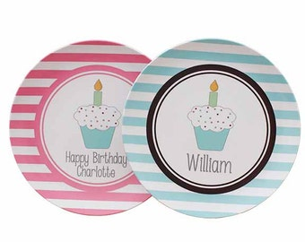 Personalized Birthday Plates - Cupcake Plates with Name - Melamine Plate