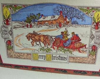 Vintage 1920s Folding Christmas Card Snow Scene Sleigh Horses Tissue