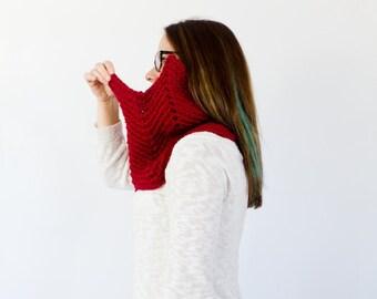 chevron geometric crochet cowl    the PAYNE    shown in cranberry