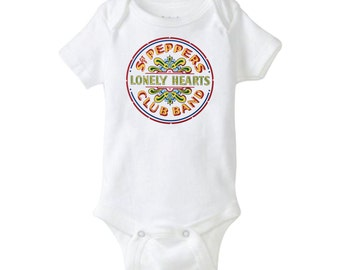 The Beatles Sgt. Pepper's Lonely Hearts club Band Music Cool Baby Shower Gift Cute Funny British Baby Awesome Baby Gift Boy Girl Neutral