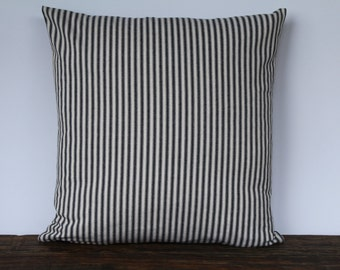 Farmhouse Black French Ticking Pillow, Decorative Pillow Cover, Custom Pillow Cover, French Ticking Pillow Farmhouse Decor - BLACK STRIPE