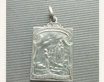 Antique Silver Religious Medal Immaculate Our Lady Virgin Mary Lourdes - 1908 anniversary Grotto scene  pilgrim Vintage devotion pendant