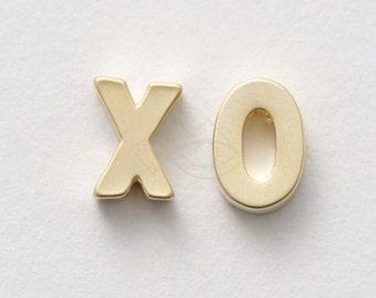 3297024 / XO, Hug and Kiss / 16k Matt Gold Plated Brass Pendant Each about 5mm x 6.5mm / Each  0.4g / Each 1 pcs (XO)