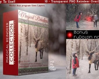 Magical Reindeer 10 Transparent PNG Overlays