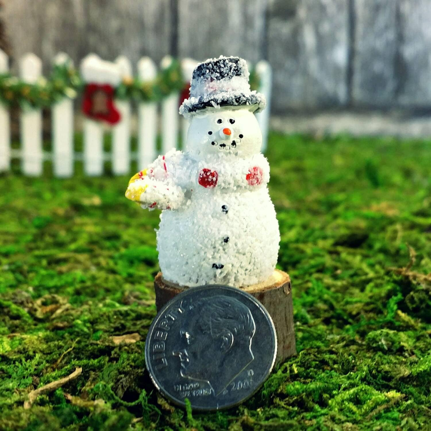 miniature snowman yellow u0026 red striped scarf winter fairy garden