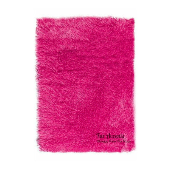 Sale Soft Faux Fur Area Rug Hot Pink Shaggy Shag By FurAccents