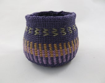 Baskets, waxed linen, fiber art, home decor, woven, weaving, woven, weaving, purple, contemporary