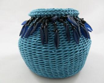 Baskets, waxed linen, woven, weaving, art, fiber art, contemporary, home decor, black daggers
