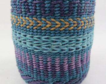 Basket, waxed linen, woven, weaving, fiber art, art, contemporary, baskets,turquoise, colorful