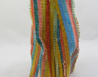 baskets, paper baskets, woven, wire, weaving, beads, fiber art, art, contemporary, home decor, yellow
