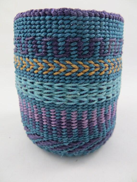 Basket Weaving Fiber : Basket waxed linen woven weaving fiber art