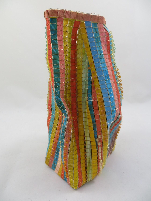Basket Weaving Fiber : Baskets paper woven wire weaving beads fiber