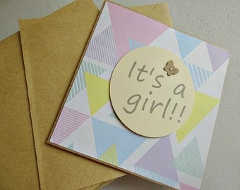 It's a Girl baby shower gift card with pastel triangle colours // baby shower gift girl // baby shower card // new baby card